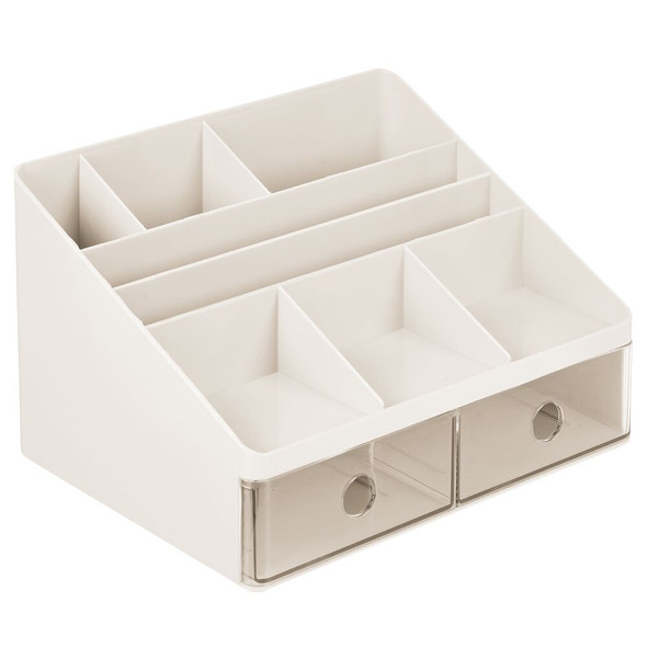 2 Drawer Plastic Vanity Cosmetic Makeup Organizer
