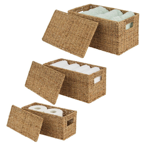 Natural Woven Seagrass Storage Baskets with Lid - Set of 3