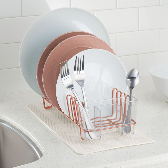 Compact Kitchen Sink Dish Rack and Silicone Drying Mat Combo