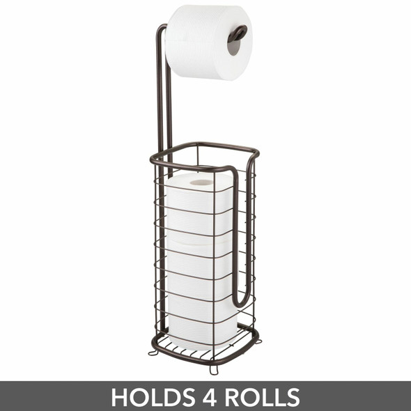 Square Metal Toilet Tissue Paper Roll Holder & Dispenser