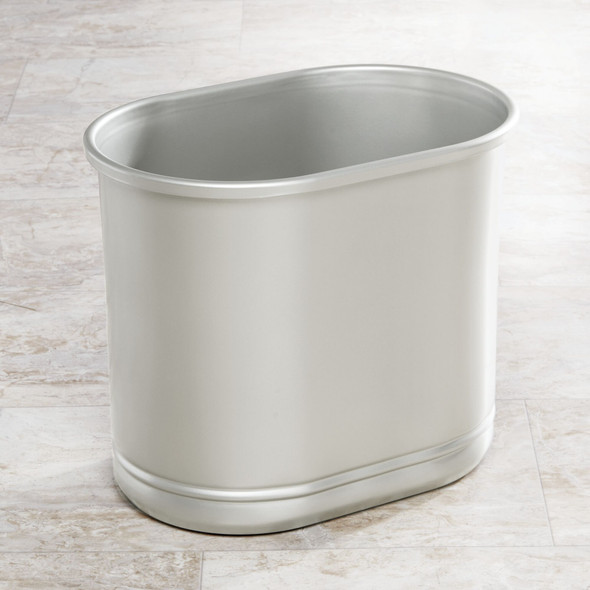 Small Modern Metal Oval Trash Can Garbage Bin