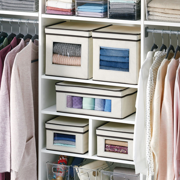 """Fabric Storage Box with Clear Front Panel for Closet - 10.5"""" x 10.5"""" x 10.6"""""""