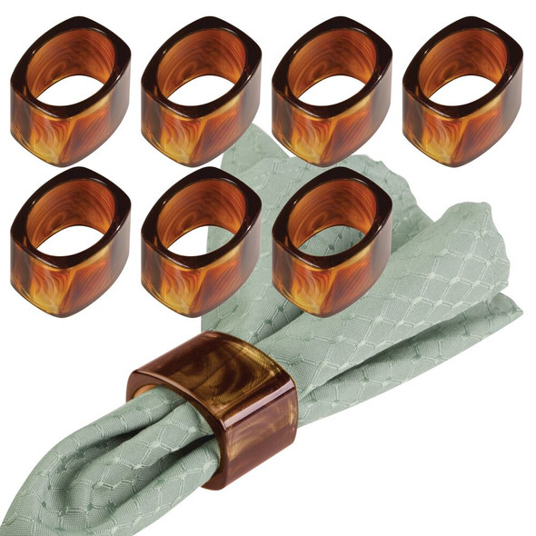 Decorative Plastic Napkin Rings for Place Settings - Pack of 8