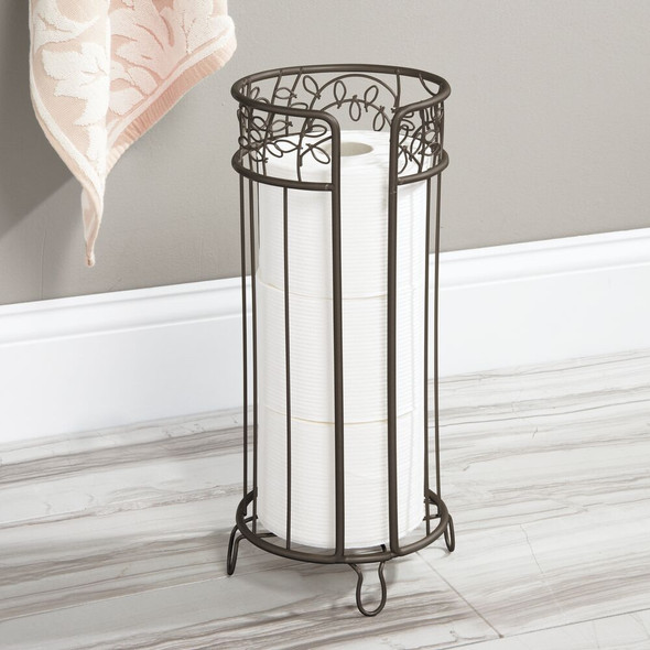 Metal Freestanding Toilet Tissue Paper Roll Holder Stand - Decorative Vine Design