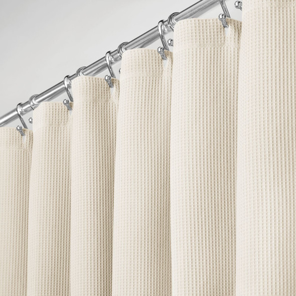 LONG Waffle Weave Cotton Shower Curtain, 72 x 84""