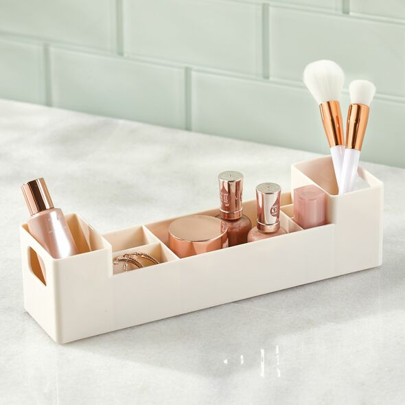 Small Plastic Bathroom Cabinet Storage Bin with Handles