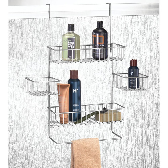 X-Wide Metal Over Door Hanging Bathroom Tub/Shower Caddy