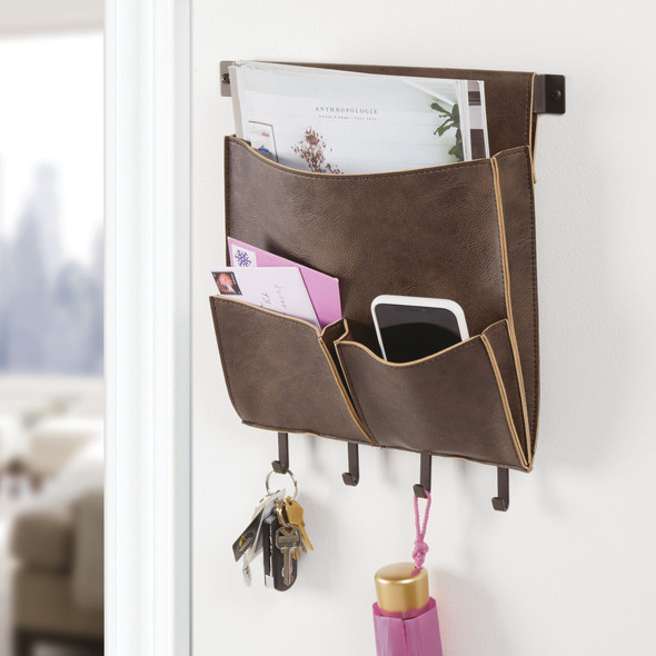 Leather Entryway Wall Mount Storage Organizer with Hooks