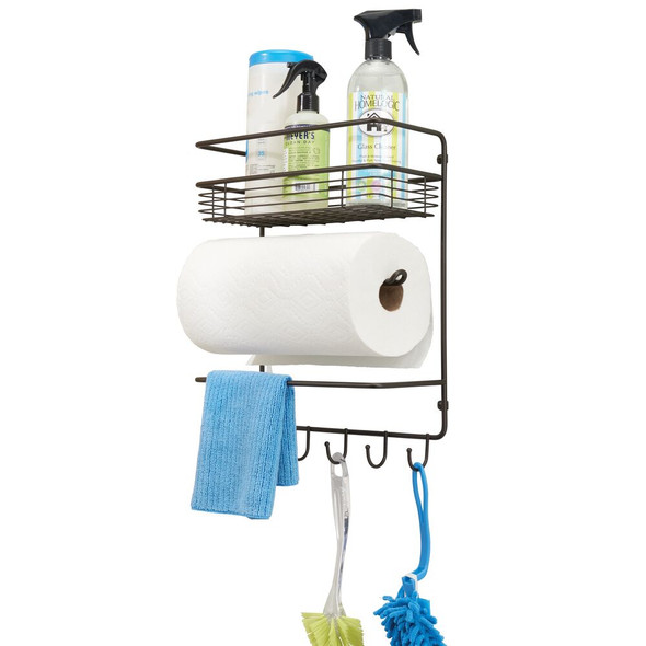 Metal Wall Mount Paper Towel Holder and Storage Center, 4 Tier