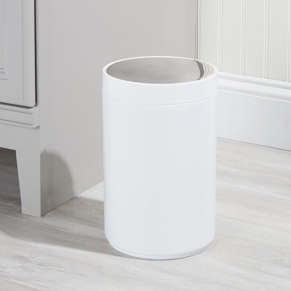 Small Plastic Trash Can Garbage Bin with Metallic Swing Lid