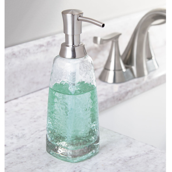 Round Refillable Liquid Soap Dispenser Pump with Textured Glass