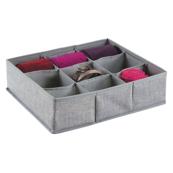 9 Section Fabric Divided Dresser Drawer Organizer