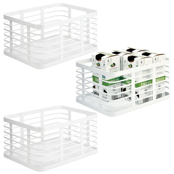 "Metal Wire Kitchen Pantry Storage Organizer Bins - 12"" x 9"" x 6"""