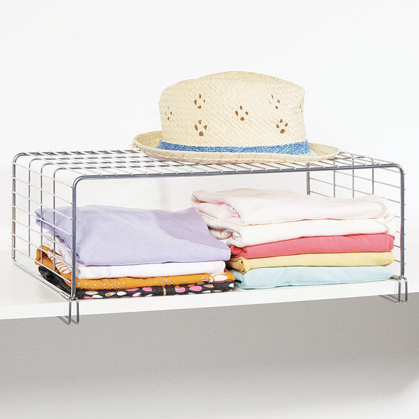 2 Tier Metal Wire Closet Storage Shelf & Divider