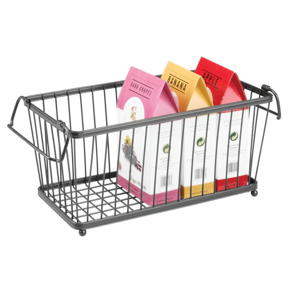 "Small Stacking Metal Kitchen Pantry Food Storage Basket - 6.3"" x 12.5"" x 5.8"""