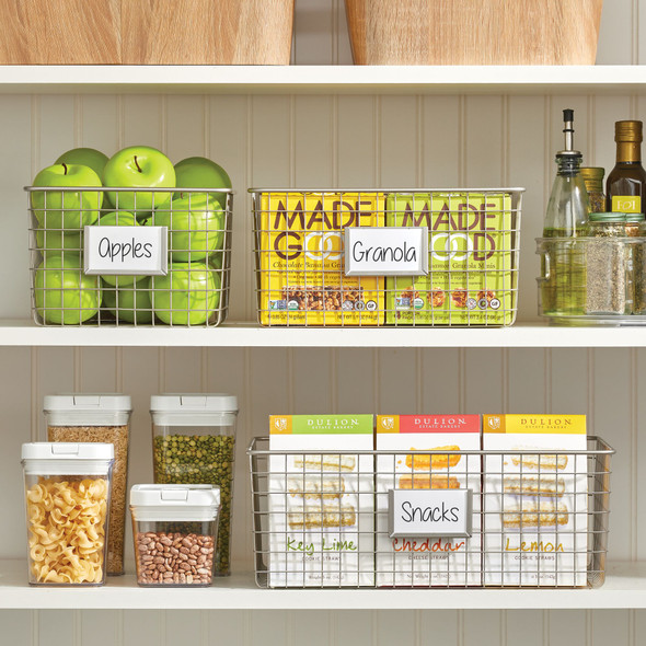 Metal Wire Pantry Storage Basket with Label Plate