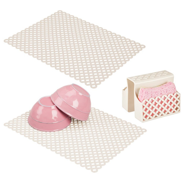 Kitchen Double Sink Protector Mats and Pouch - Set of 3