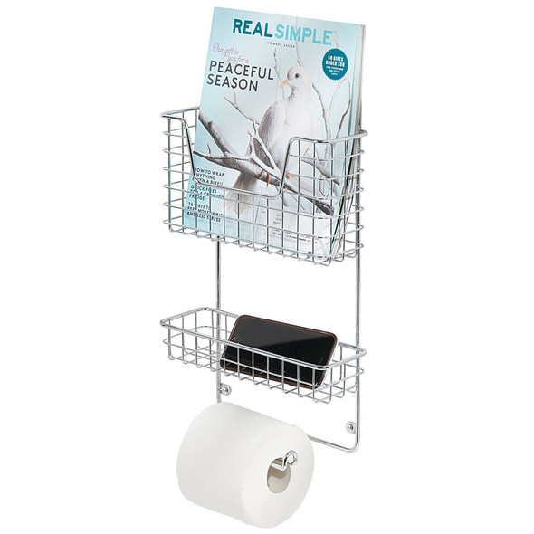 Wall Mount Toilet Tissue Paper Roll Dispenser & 2-Tier Shelf