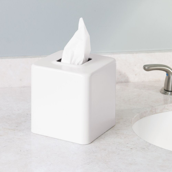 Metal Square Facial Tissue Box Cover Holder - Pack of 4