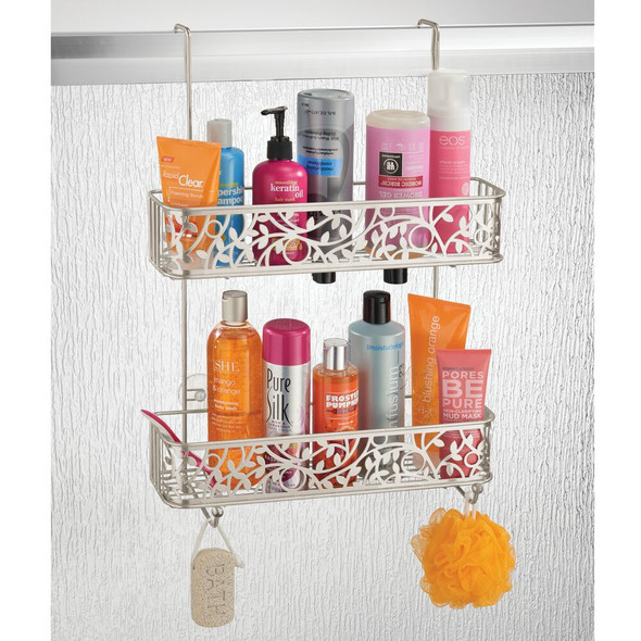 Wide Over Door Hanging Bathroom Tub/Shower Caddy Storage, Decorative Vine Design