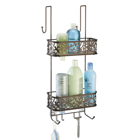 Over Door Hanging Bathroom Tub/Shower Caddy Storage, Decorative Vine Design