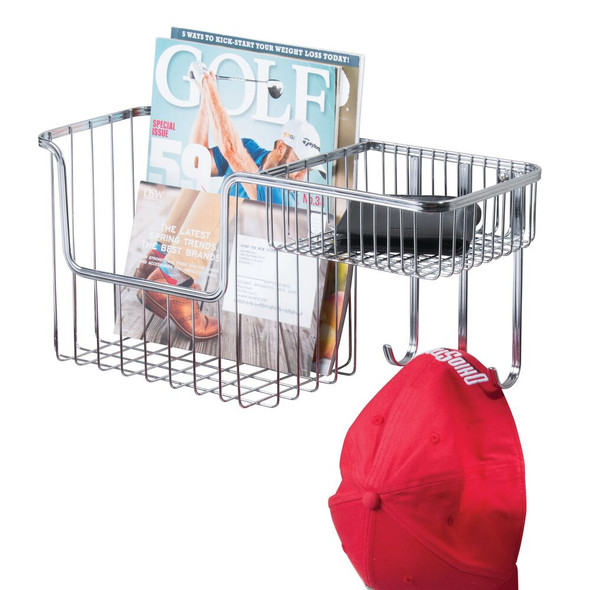 Metal Wall Mount Entryway Storage Basket Mail Sorter - 2 Levels