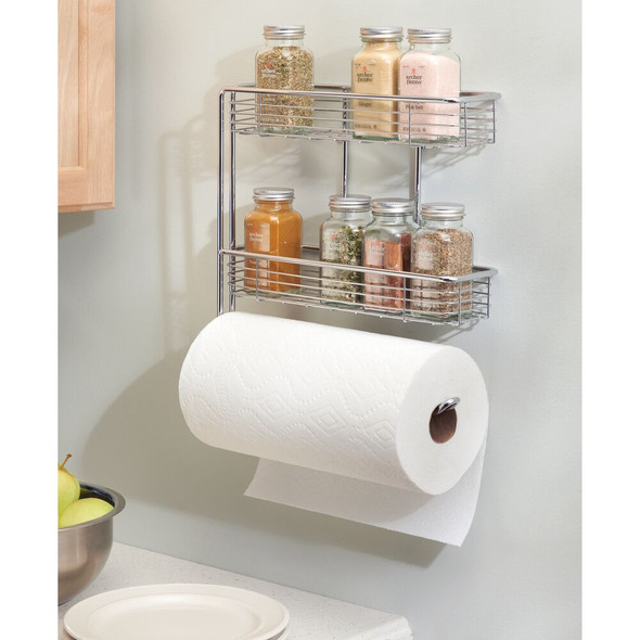 Metal Wall Mount Paper Towel Holder with 2-Tier Storage Baskets