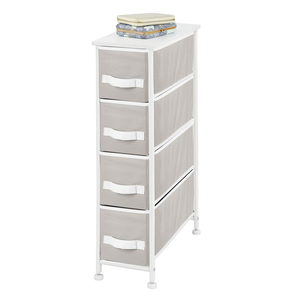 4 Drawer Narrow Storage Unit with White Accents