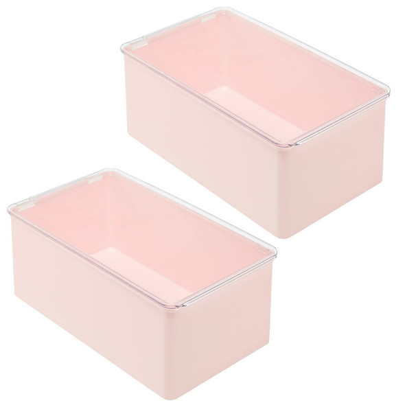 Plastic Stackable Toy Storage Bin Box with Lid - Pack of 2