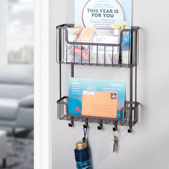 2-Tier Metal Wall Mount Entryway Storage Basket Mail Sorter