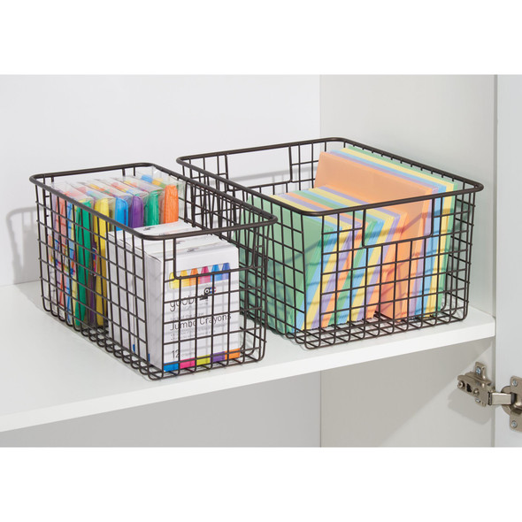 "Metal Wire Storage Basket with Handles - 12"" x 6"" x 6"""
