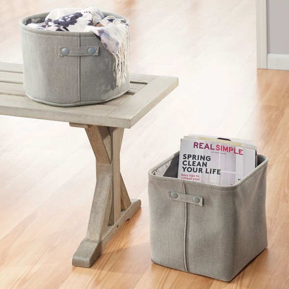 Small Fabric Bathroom Storage Bin, Coated Interior - Round