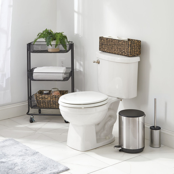 Toilet Brush Holder and Step Trash Can - Set of 2