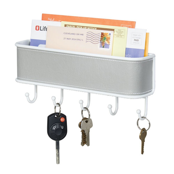 Wall Mount Entryway Key Rack + Mail Holder with 5 Hooks