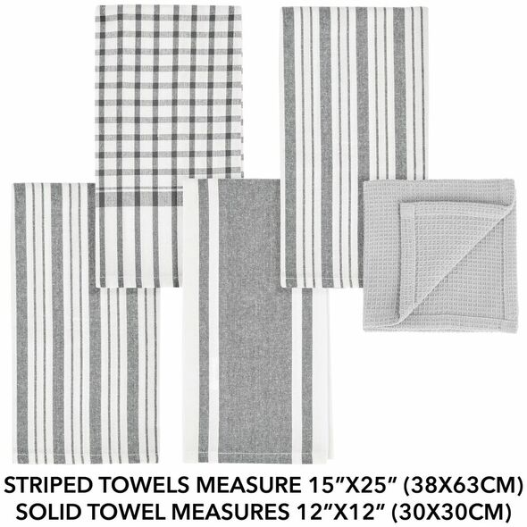 Kitchen Towel Set with Striped Pattern - Set of 5