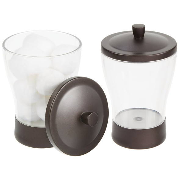 Tapered Plastic Bathroom Vanity Storage Canister Jar