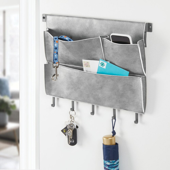 Leather Entryway Wall Mount Storage Organize with Hooks