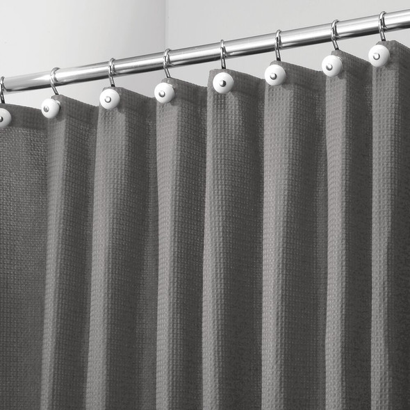 "X-WIDE Waffle Weave Fabric Shower Curtain 108"" x 72"""