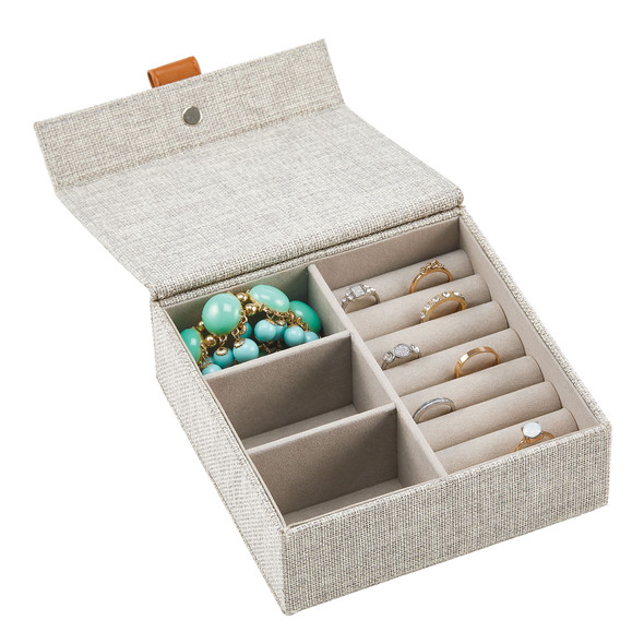3 Compartment + Ring Roll Fabric Jewelry Storage Box with Lid