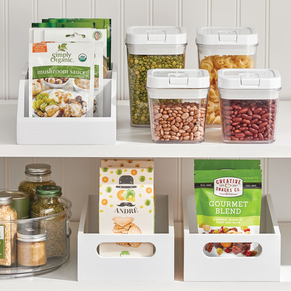 Bamboo Front Dip Divided Food Storage Bin - Pack of 2