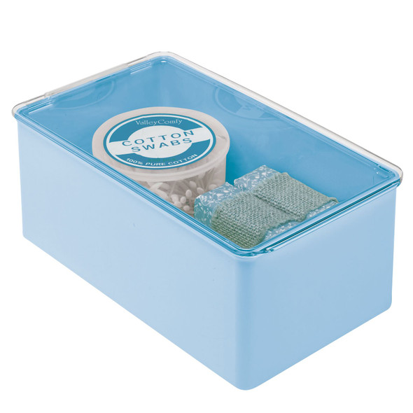 "Plastic Stackable Bathroom Storage Box with Lid - 7.25"" x 12.75"" x 5"""
