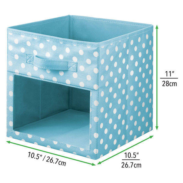 Fabric Polka Dot Storage Cube with Front Window - Pack of 6