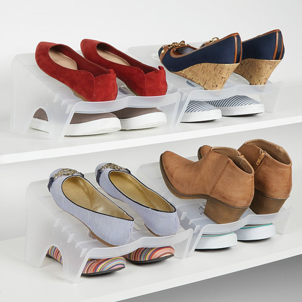 2-Pair Double Layer Free Standing Shoe Stacker Stand - Pack of 8