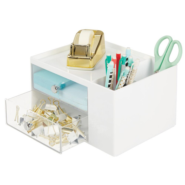 2 Drawer Plastic Office Desk Organizer Storage Caddy