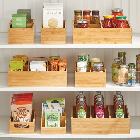 "Bamboo Kitchen Pantry Storage Bin - 6"" x 6"" x 4"""