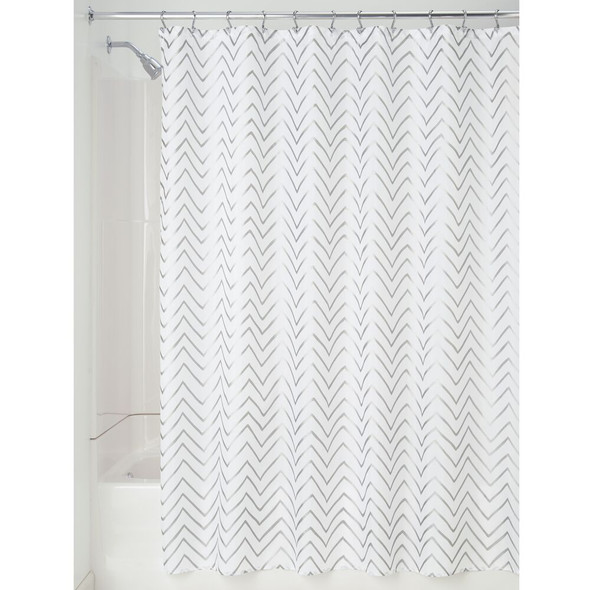 "Long Fabric Chevron Printed Shower Curtain - 72"" x 84"""