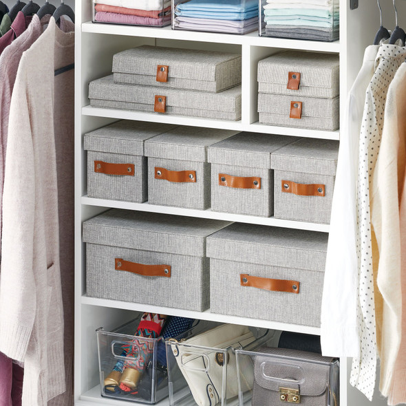 13 Compartment Fabric Jewelry Storage Box with Lid