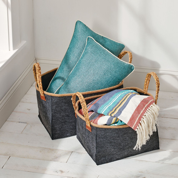 Rectangle Collapsible Fabric Basket With Braided Handles