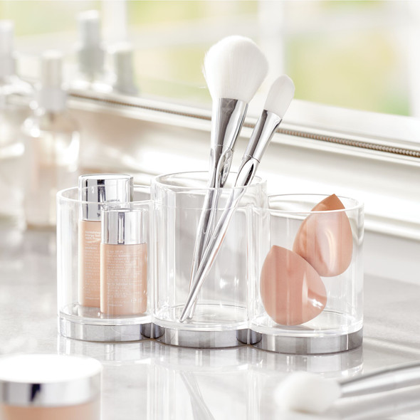 3 Section Makeup Brush-Holder Vanity Desk Organizer