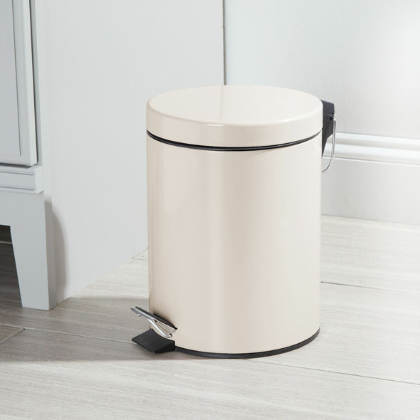 5 Liter Round Metal Step Trash Can Garbage Bin for Office